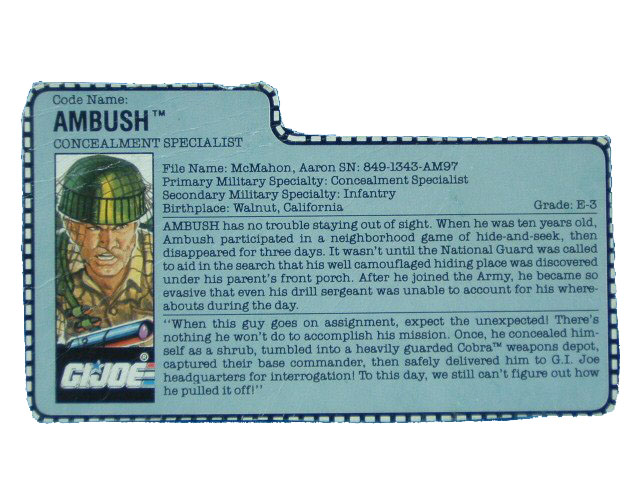 1990 GIJoe Ambush CONCEALMENT SPECIALIST Filecard
