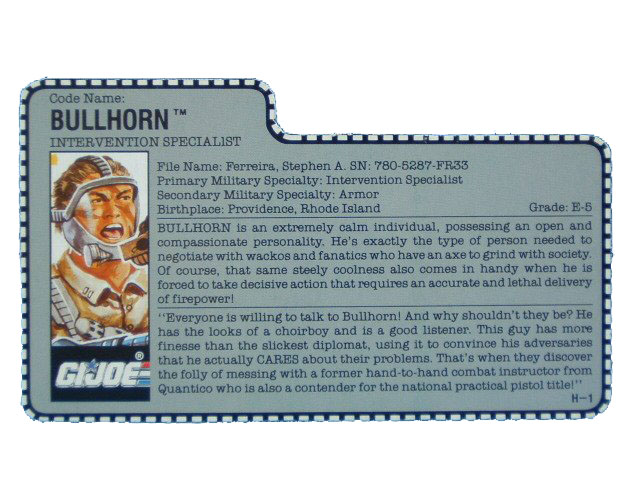 1990 GIJoe Bullhorn INTERVENTION SPECIALIST Filecard