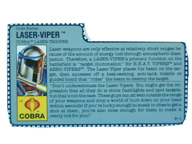 1990 GIJoe Cobra Laser Viper COBRA LASER TROOPER Filecard