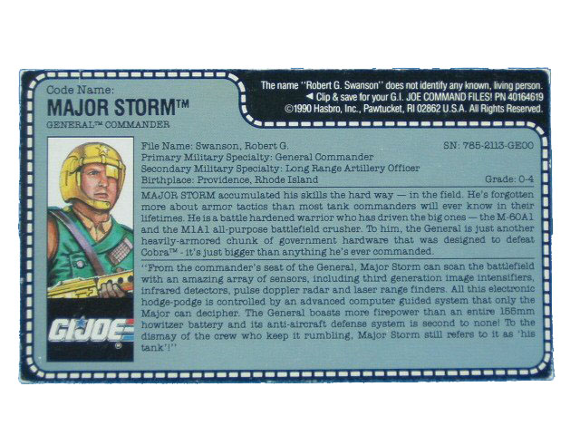 1990 GIJoe MAJOR STORM GENERAL COMMANDER Filecard