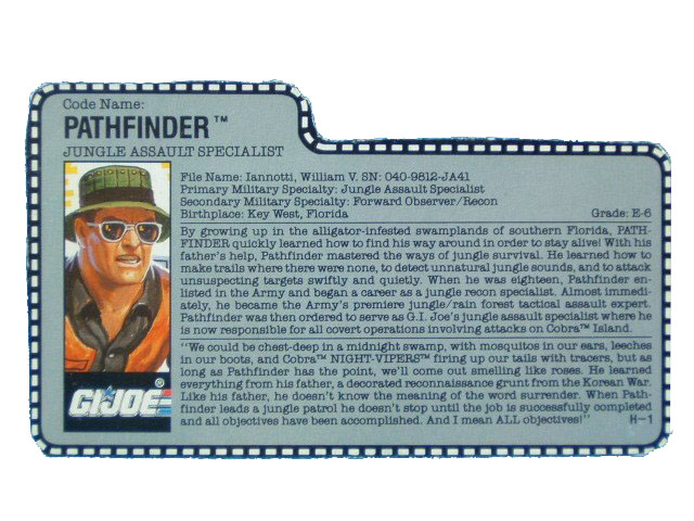 1990 GIJoe Pathfinder JUNGLE ASSAULT SPECIALIST Filecard