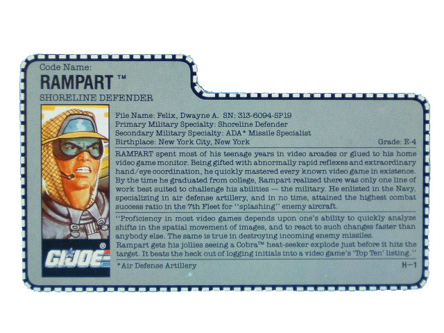 1990 GIJoe Rampart SHORELINE DEFENDER Filecard