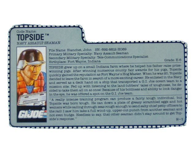 1990 GIJoe Topside NAVY ASSAULT SEAMAN Filecard