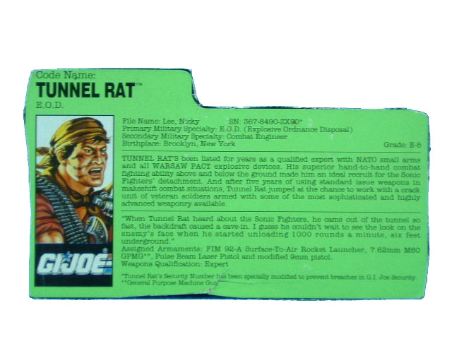 1990 GIJoe Tunnel Rat E.O.D. SONIC FIGHTERS Filecard