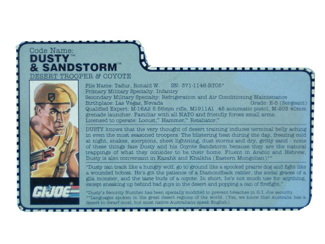 1991 GIJoe Dusty & Sandstorm DESERT TROOPER & COYOTE Filecard