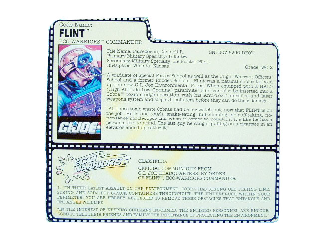 1991 GIJoe Flint ECO-WARRIORS COMMANDER Filecard