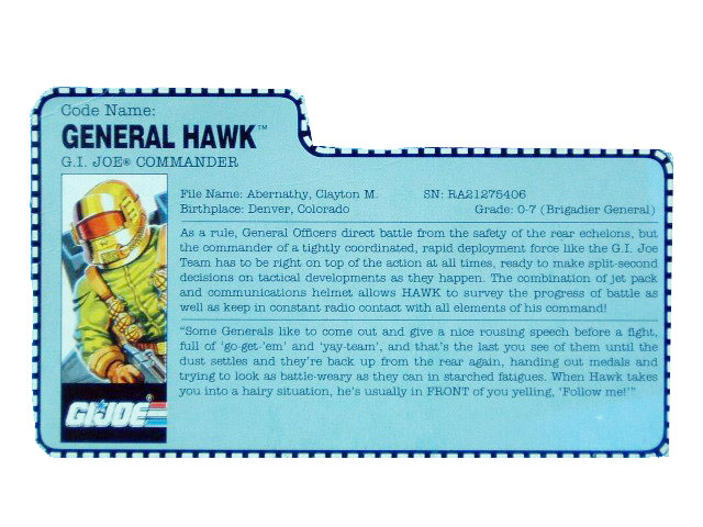 1991 GIJoe General Hawk G.I. JOE COMMANDER Filecard