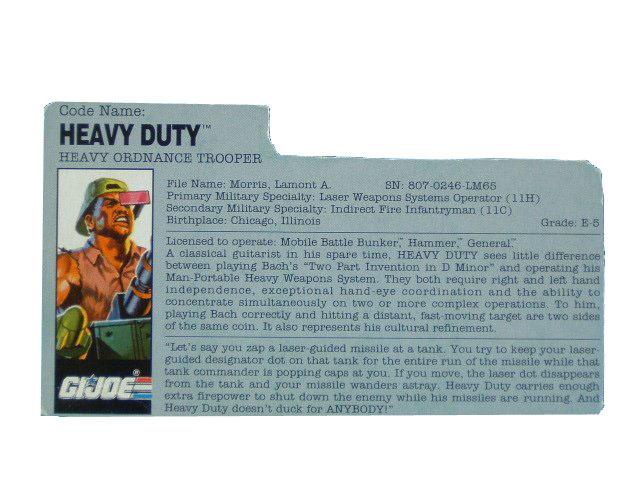 1991 GIJoe Heavy Duty G.I.JOE HEAVY ORDINANCE TROOPER Filecard