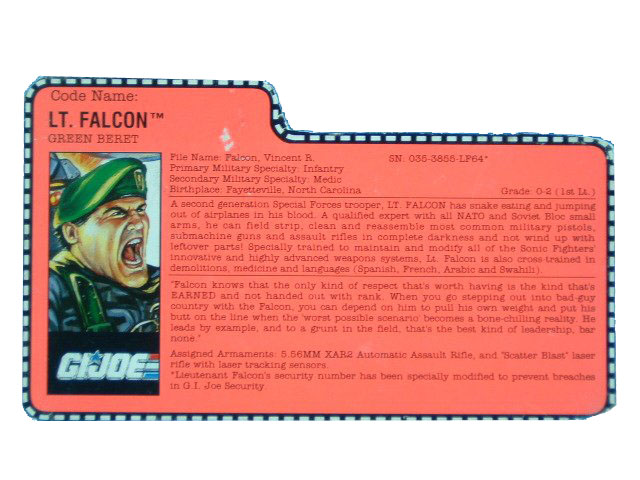1991 GIJoe Lt. Falcon GREEN BERET Filecard