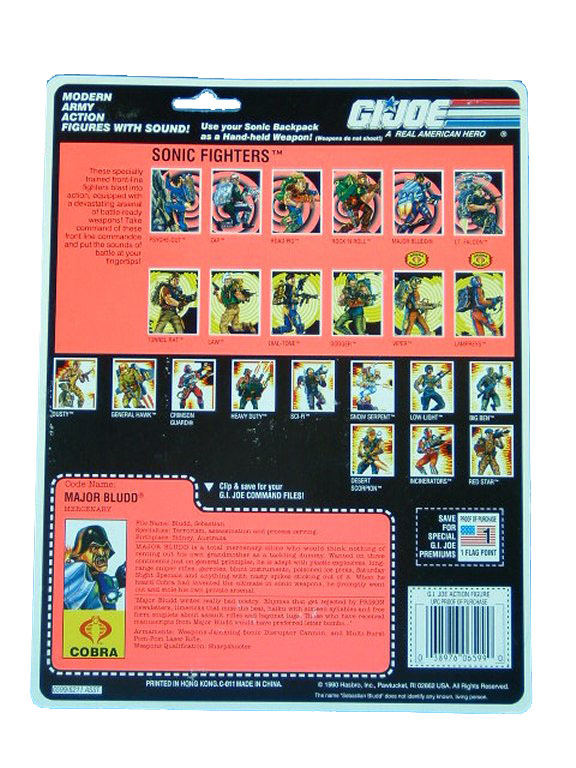 1991 GIJoe Cobra Major Bludd MERCENARY Filecard