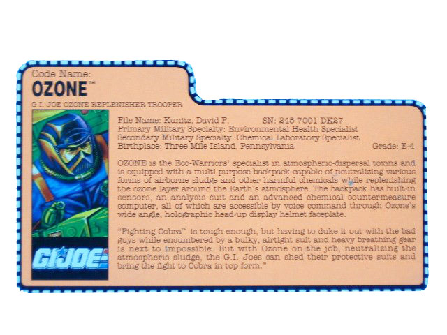 1991 GIJoe Ozone G.I. JOE OZONE REPLENISHER TROOPER Filecard