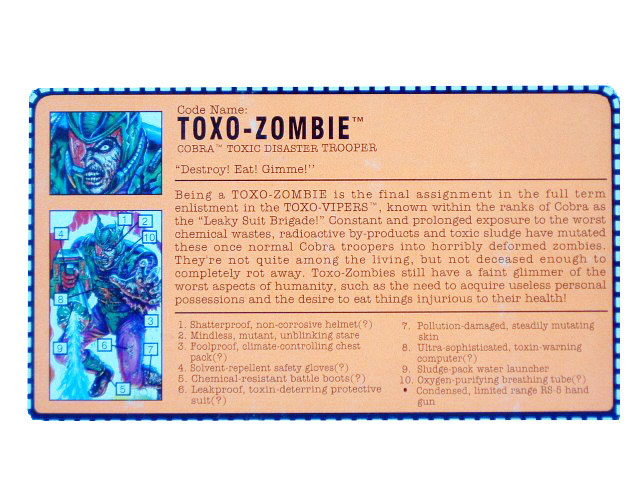 1992 GIJoe Cobra Toxo-Zombie TOXIC DISASTER TROOPER Filecard