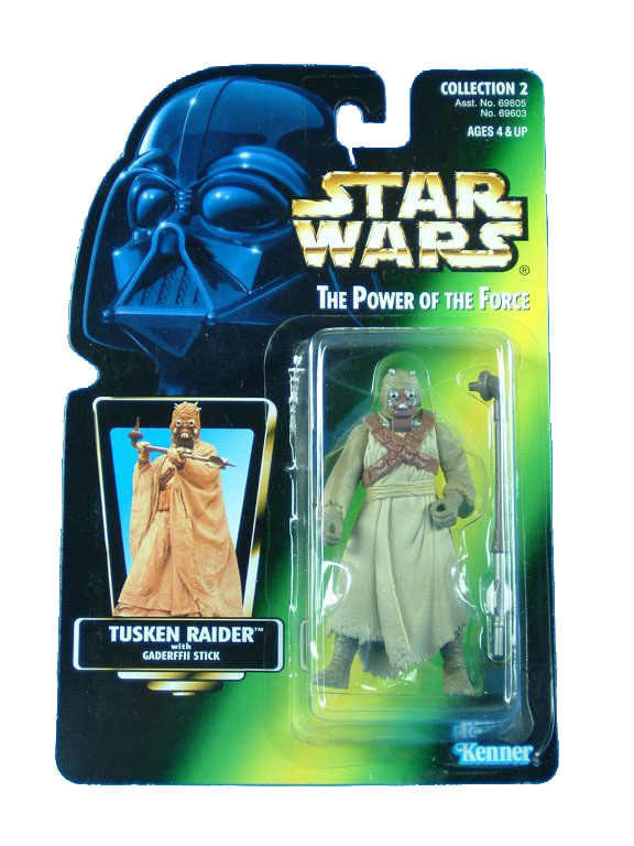 1996 Star Wars POTF2 TUSKEN RAIDER Green Card Complete