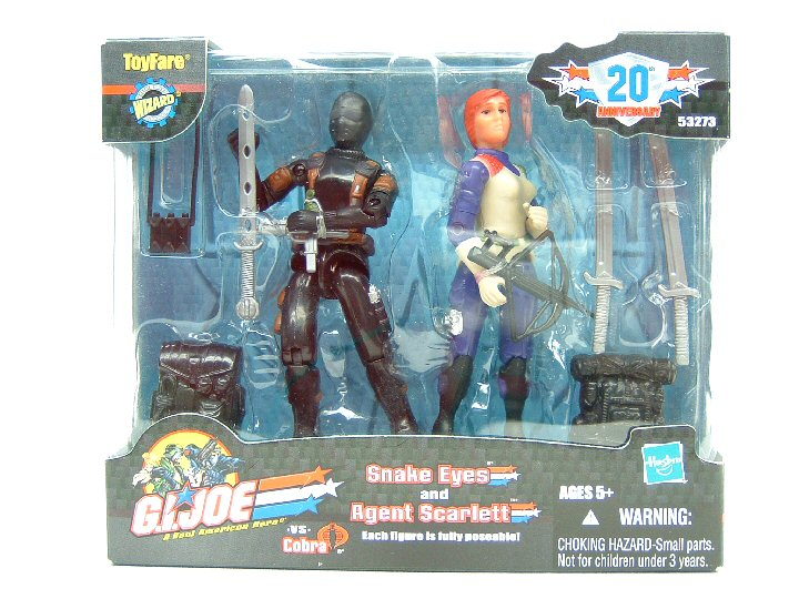 2003 GIJoe AGENT SCARLETT & SNAKE EYES Toy Fare Mail-In Sealed
