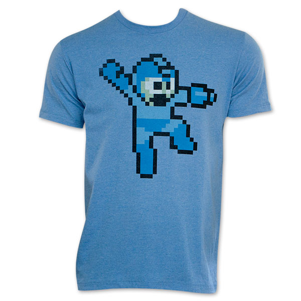 Capcom Mega Man Rockman 8-bit Mega Buster Arm Cannon Blue T-Shirt 2X-Large