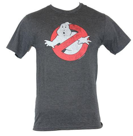 Ghostbusters Officially Licensed Distressed Logo Charcoal Gray T-Shirt Small