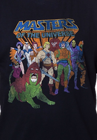 He-Man Masters of the Universe Heroes and Villains Cast Black T-Shirt Medium