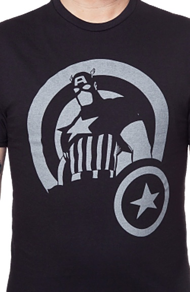 Marvel Captain America Silhouette Officially Licensed Black T-Shirt Small