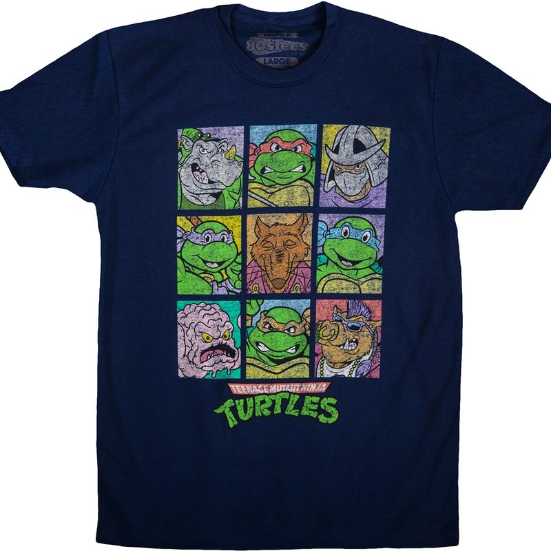 Teenage Mutant Ninja Turtles Heroes and Villains Panel Navy T-Shirt Medium