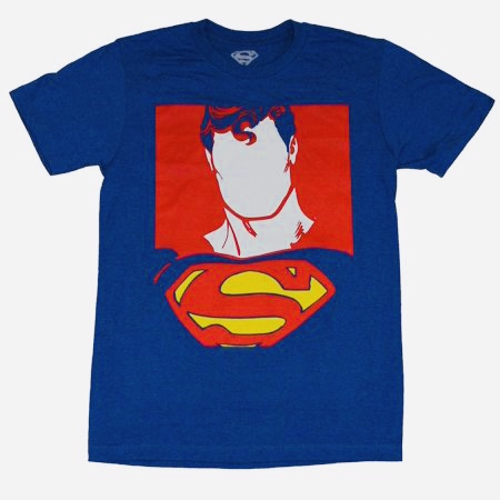 DC Comics Superman Portrait Blank Face Men's Blue T-Shirt Large