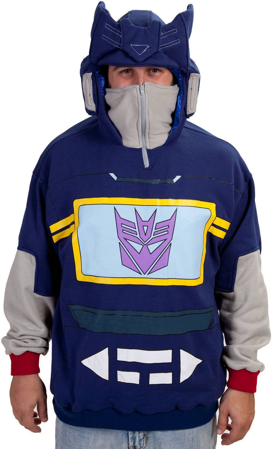 Transformers Soundwave Officially Licensed Blue Costume Hoodie Large