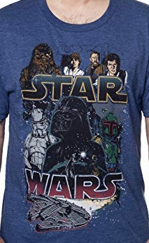 Star Wars Rebel Heroes vs Empire Villains Officially Licensed Blue T-Shirt LG