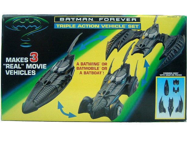 1995 Batman Forever TRIPLE ACTION VEHICLE SET BATMOBILE BATWING BATBOAT Sealed