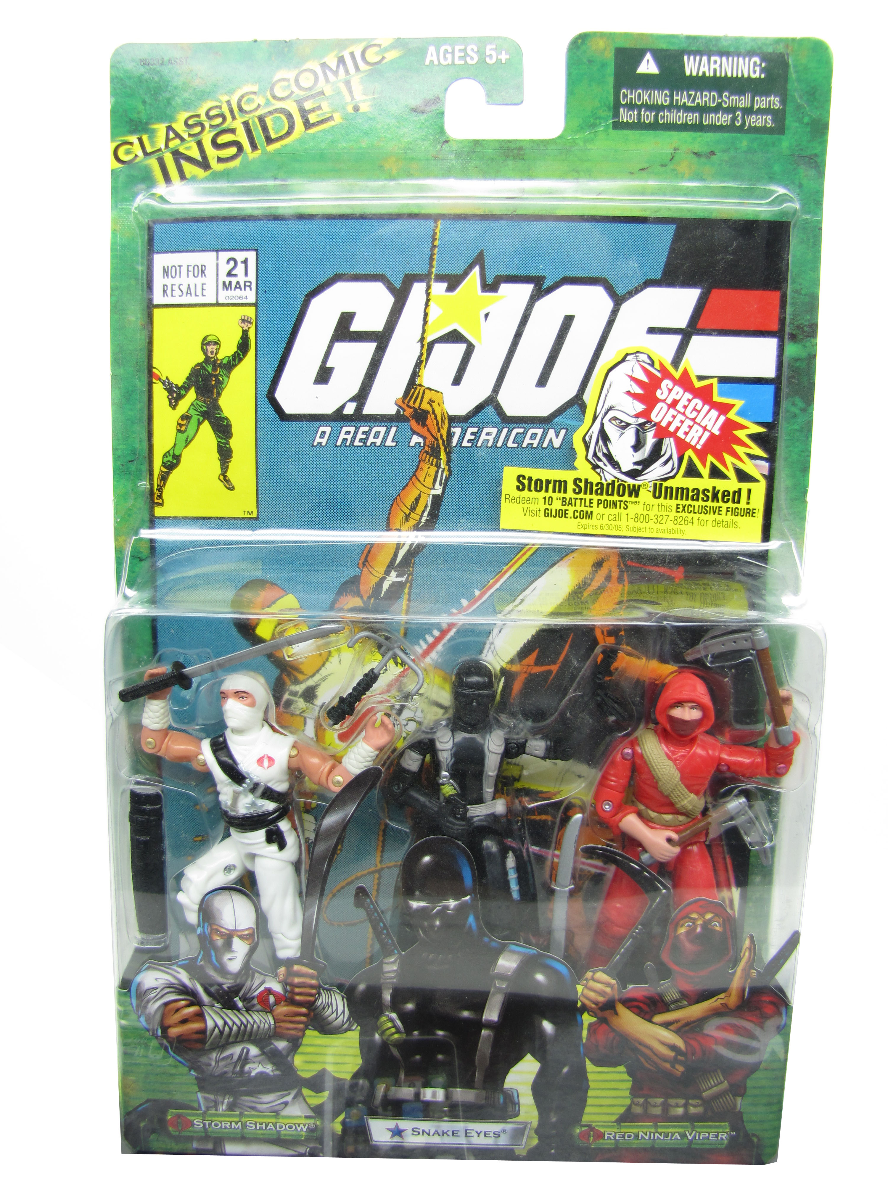 2005 GIJoe Comic Pack STORM SHADOW SNAKE EYES RED NINJA VIPER