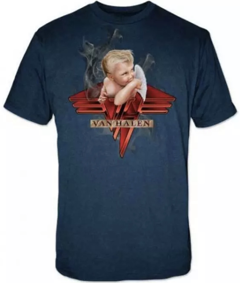 Van Halen Smoking Angel Baby From 1984 Officially Licensed Men's Navy T-Shirt XL