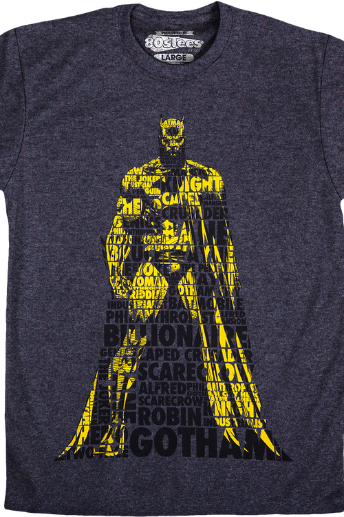 DC Comics Batman Typographic Men's Charcoal T-Shirt Large