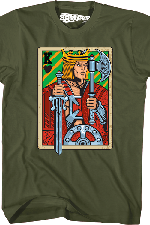 He-Man Masters of the Universe King Adam Playing Card Green T-Shirt X-Large Tall
