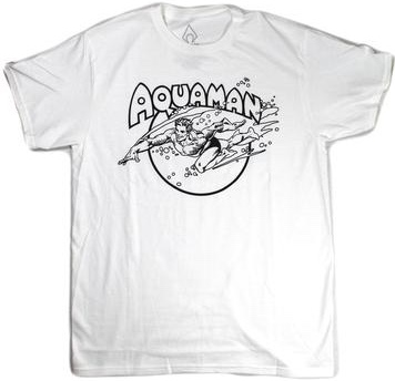 DC Comics Aquaman Vintage Swimming White T-Shirt Small