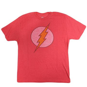 DC Comics The Flash Vintage Distressed Logo Men's Red Heather T-Shirt Large
