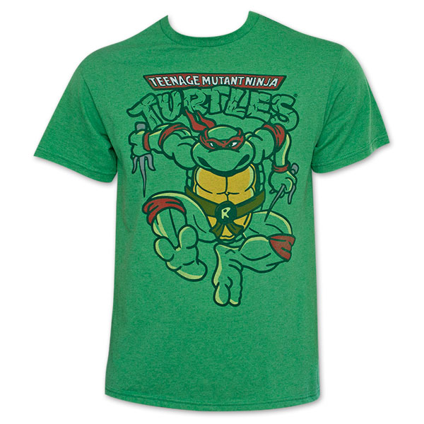 Teenage Mutant Ninja Turtles Raphael Attacking Green T-Shirt Small