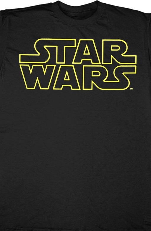 Star Wars Yellow Logo Officially Licensed Black T-Shirt Medium