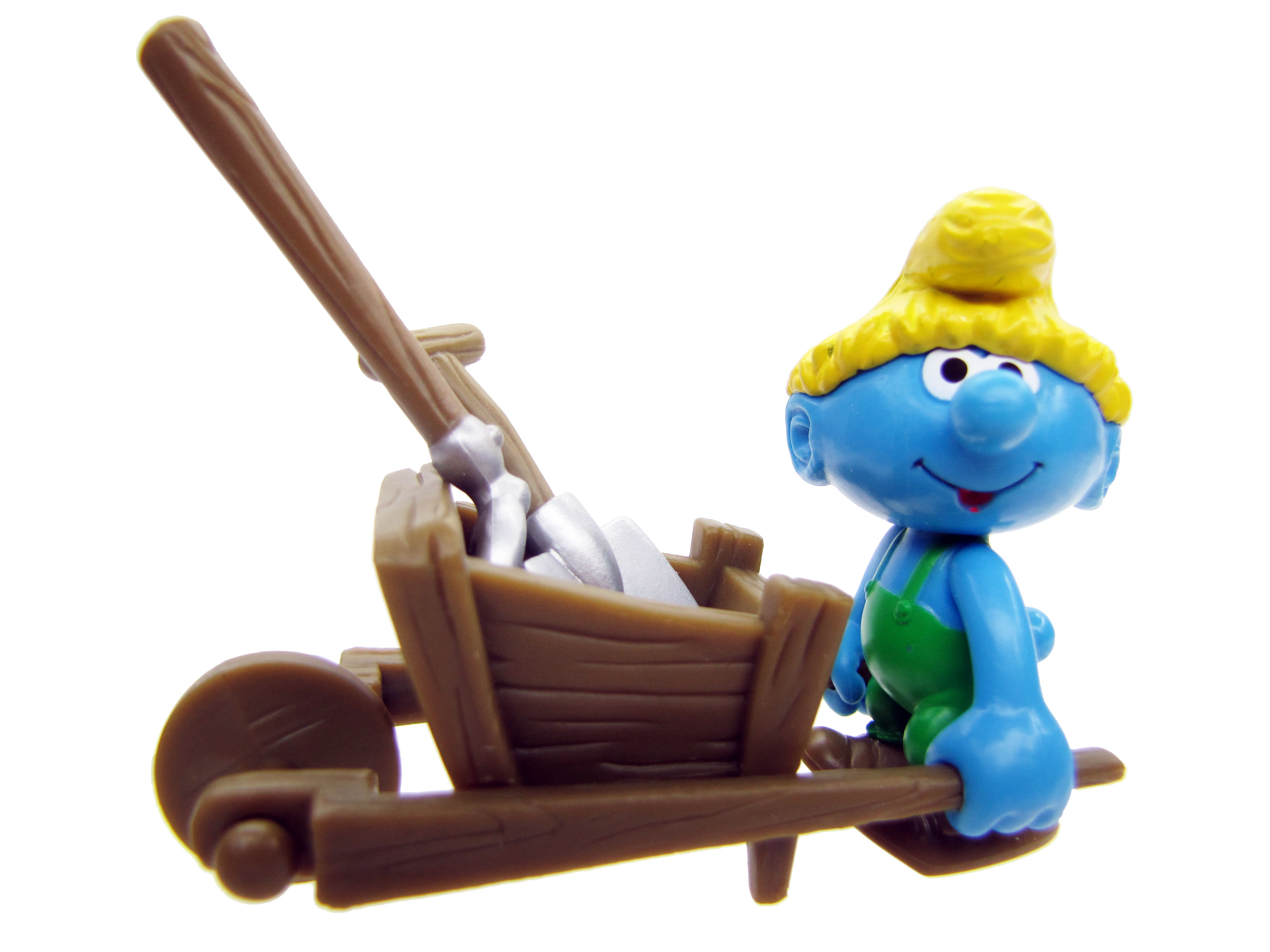 2008 The Smurfs Series 2: Farmer Smurf with Wheelbarrow Complete