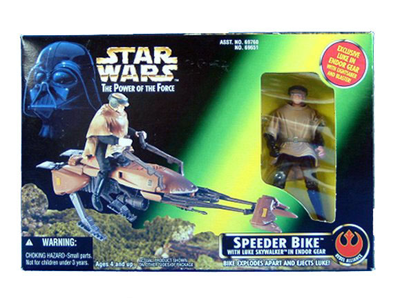 1995 Star Wars POTF2 SPEEDER BIKE with Luke Skywalker ENDOR GEAR