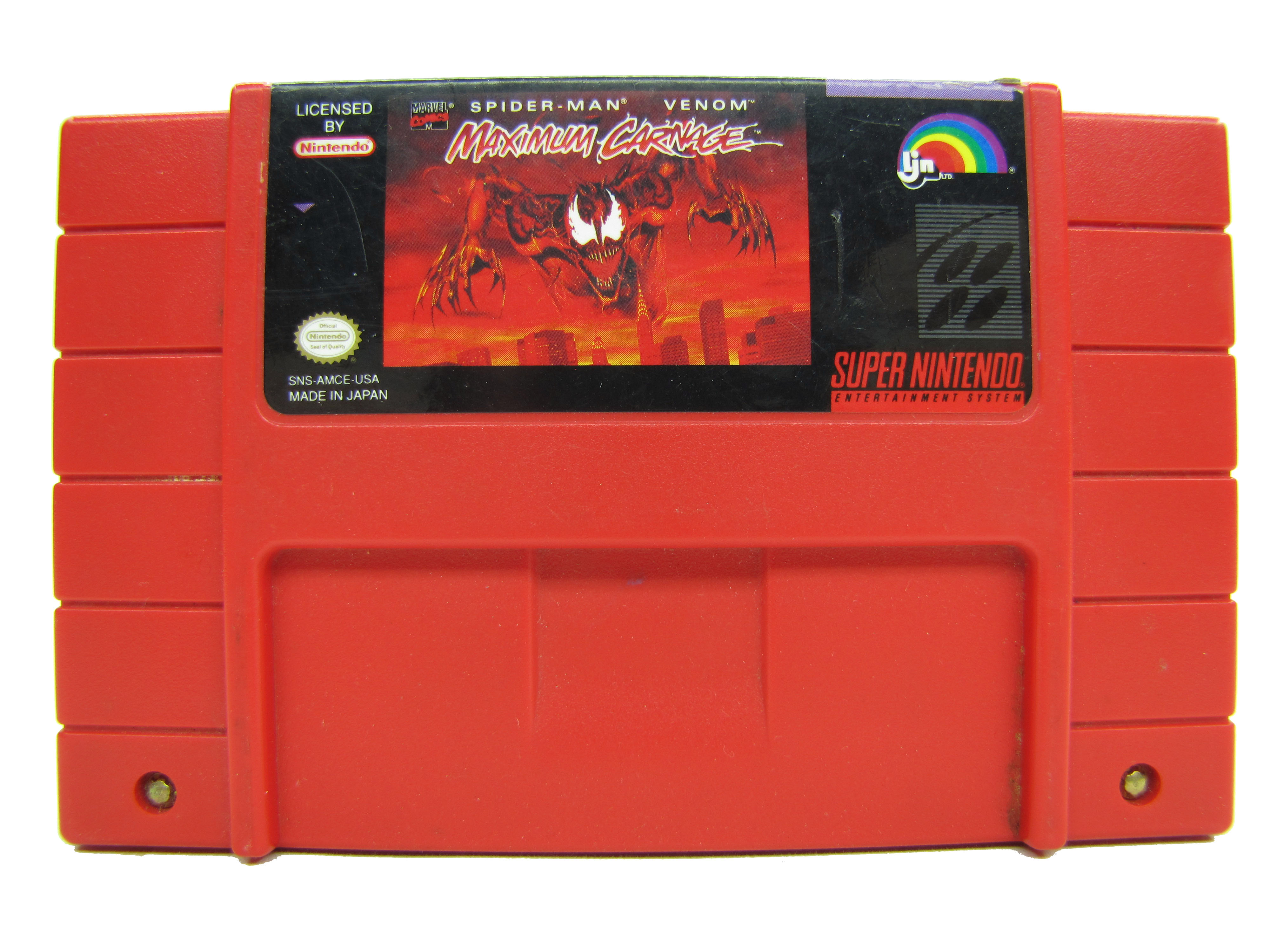SNES Spider-Man Venom Maximum Carnage Red Cartridge - 1994