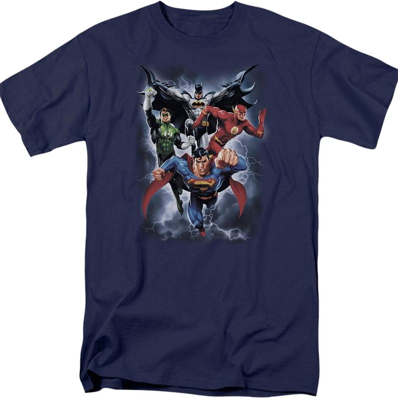 DC Comics Justice League Batman Green Lantern Flash Superman Navy T-Shirt Large