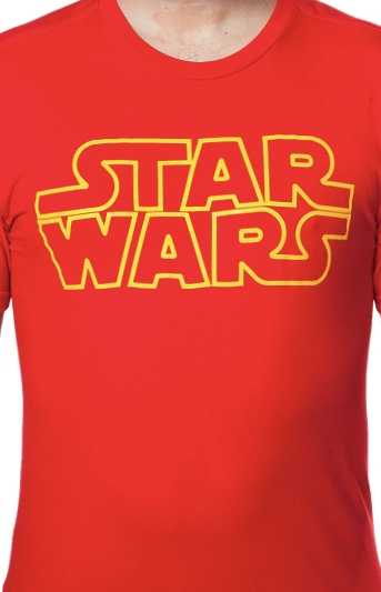 Star Wars Yellow Logo Officially Licensed Red T-Shirt X-Large