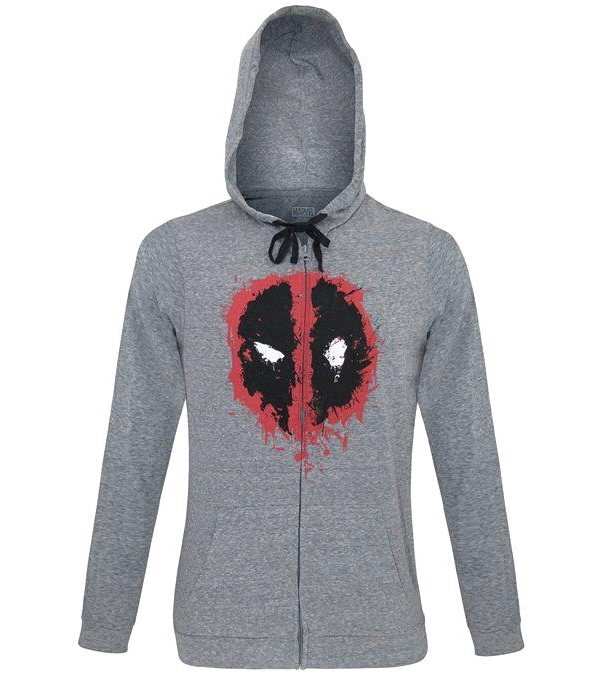 Marvel Deadpool Distressed Logo Officially Licensed Heather Gray Hoodie Large