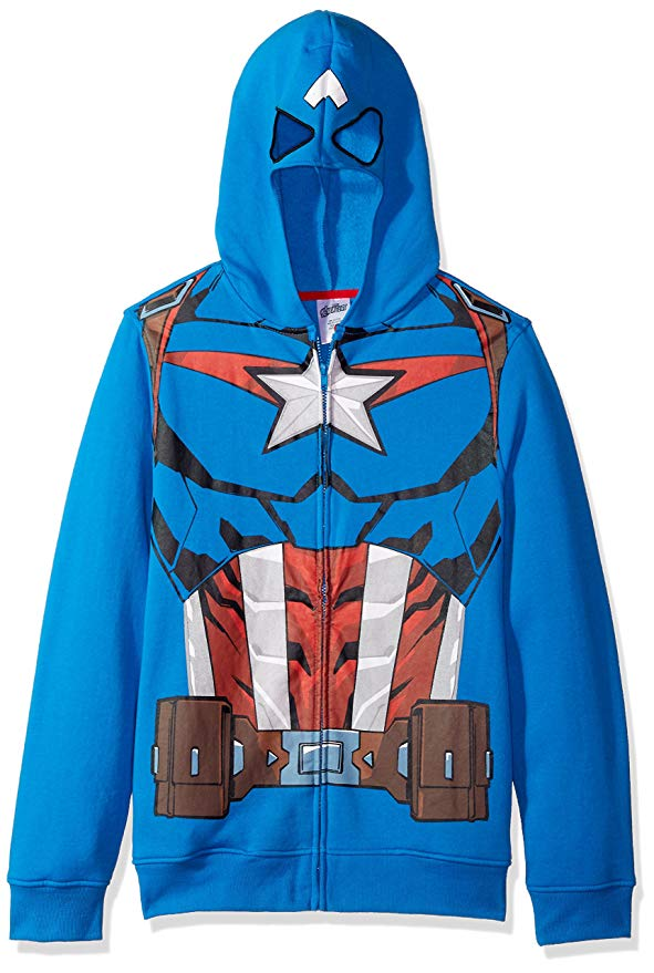 Marvel Captain America Officially Licensed Blue Costume Hoodie Men's Large