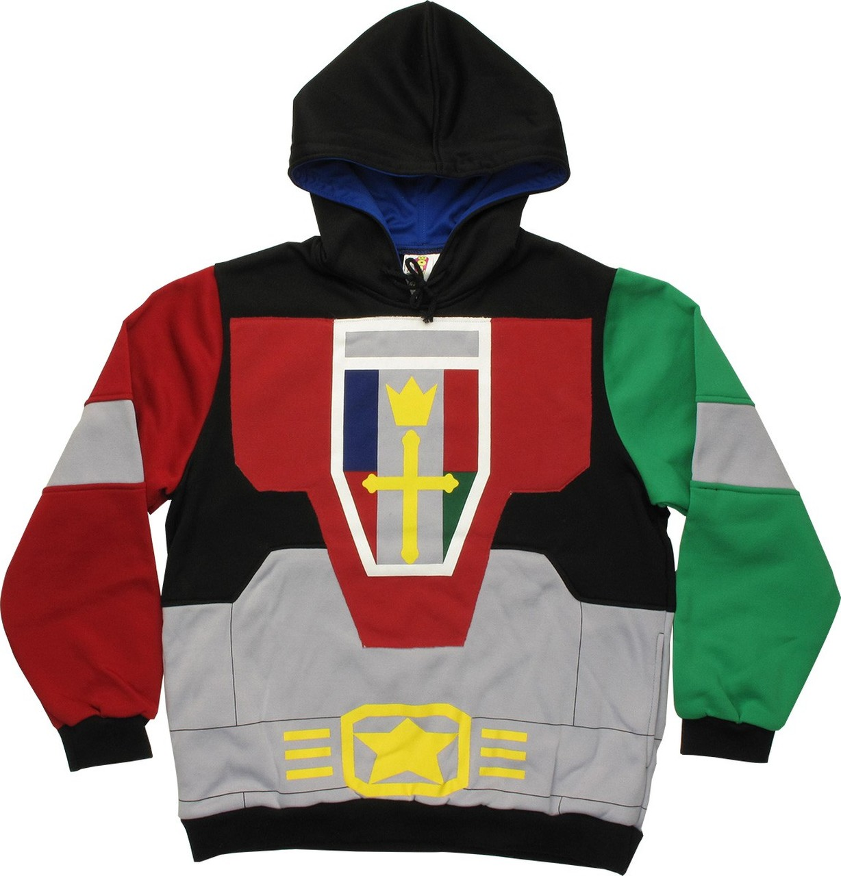 Voltron Officially Licensed Black Gray Red Green Yellow Costume Hoodie Large