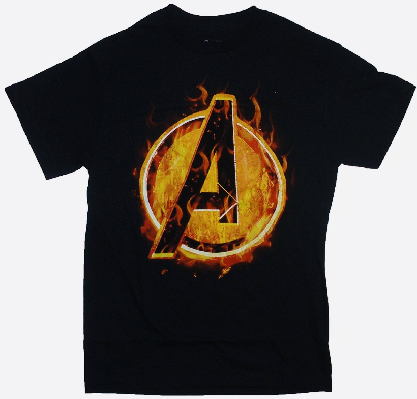 Marvel Avengers Assemble Burning Logo Officially Licensed Black T-Shirt 2X-Large