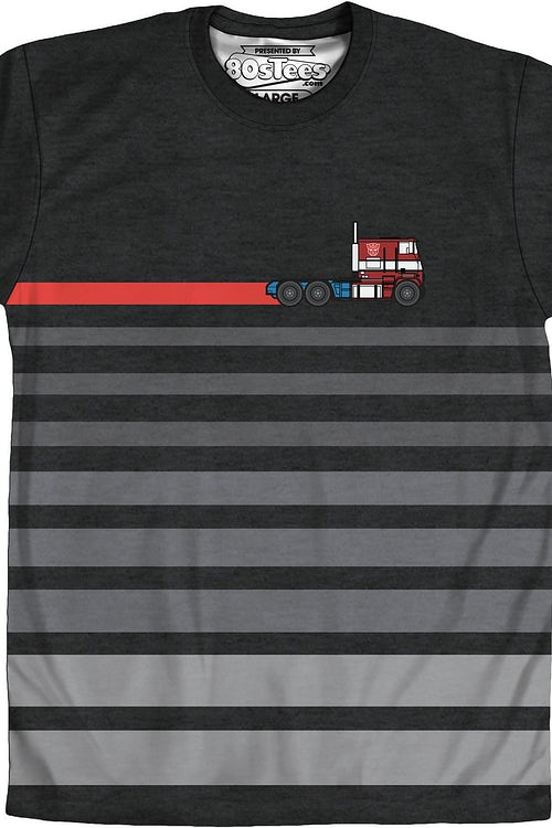 Transformers Optimus Prime Sublimated Black Striped T-Shirt Small