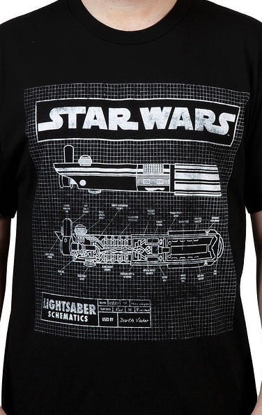Star Wars Darth Vader Lightsaber Schematic Officially Licensed Black T-Shirt 2XL