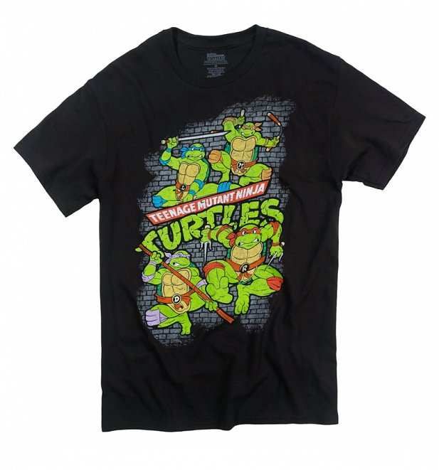 Teenage Mutant Ninja Turtles Fearsome Fighting Team Black T-Shirt Large