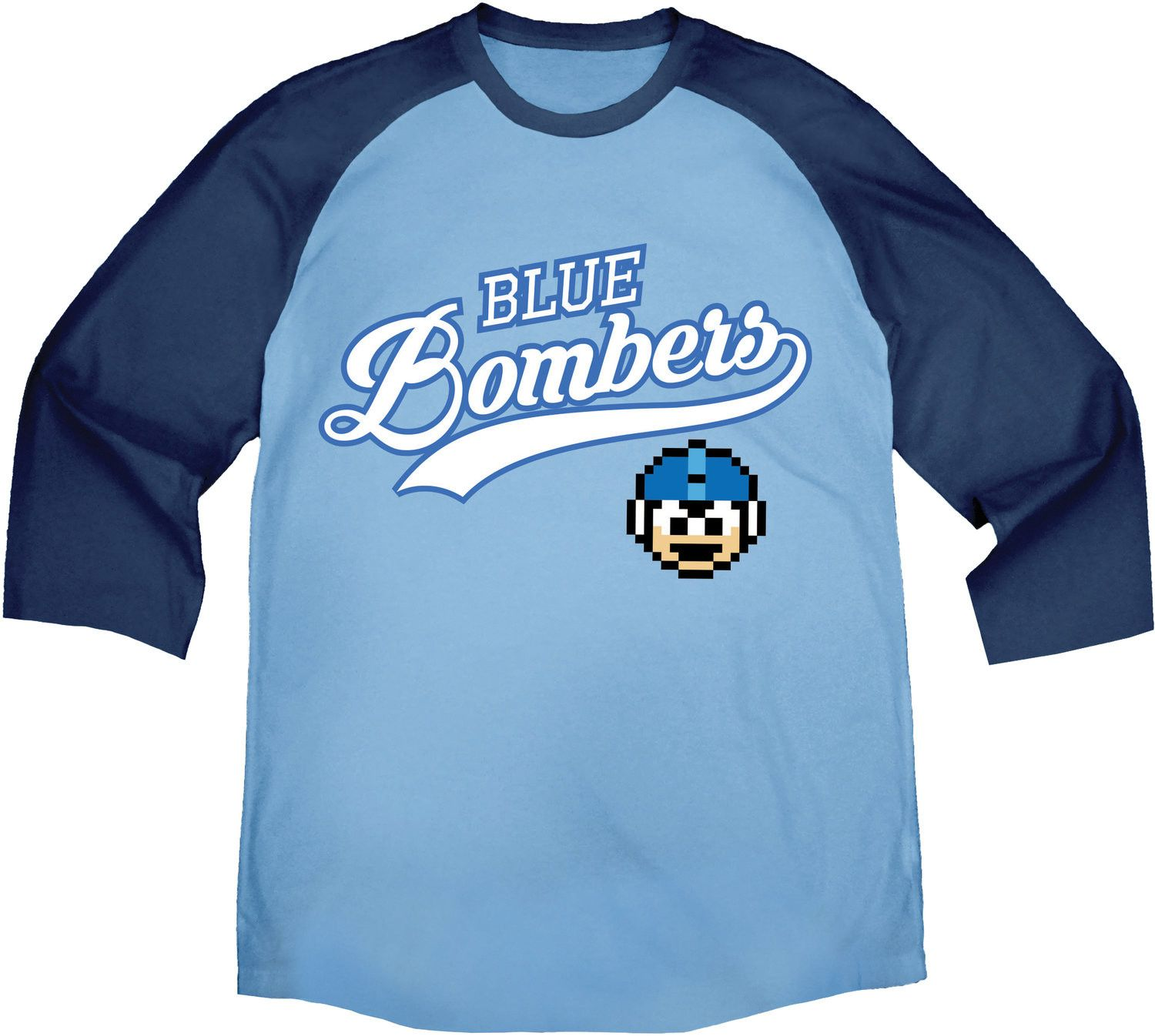 Capcom Mega Man Blue Bomber Blue Baseball Shirt 2X-Large