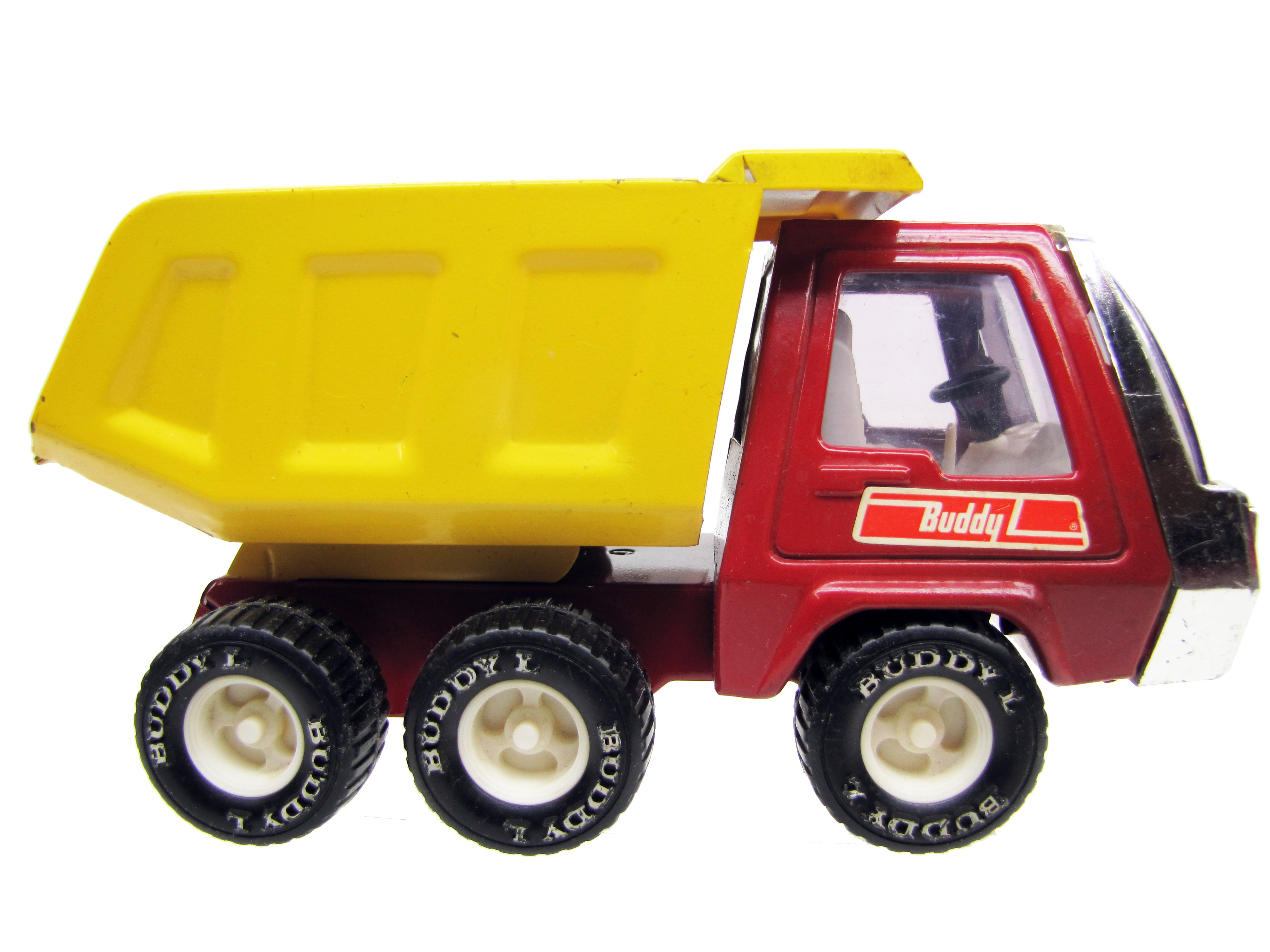 1970's Vintage Buddy L Red and Yellow Six Wheel Dump Truck NICE