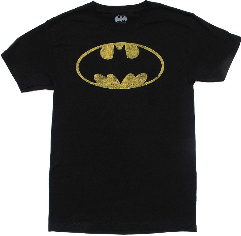 DC Comics Batman Vintage Distressed Bat Logo Symbol Men's Black T-Shirt Medium